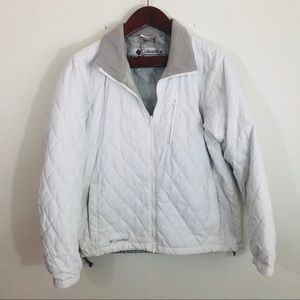 Columbia White Quilted Jacket Interchange Xl Gray